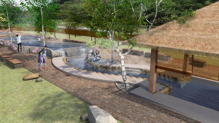 寶來花賞溫泉公園改造足湯區 升級成SPA泡湯區